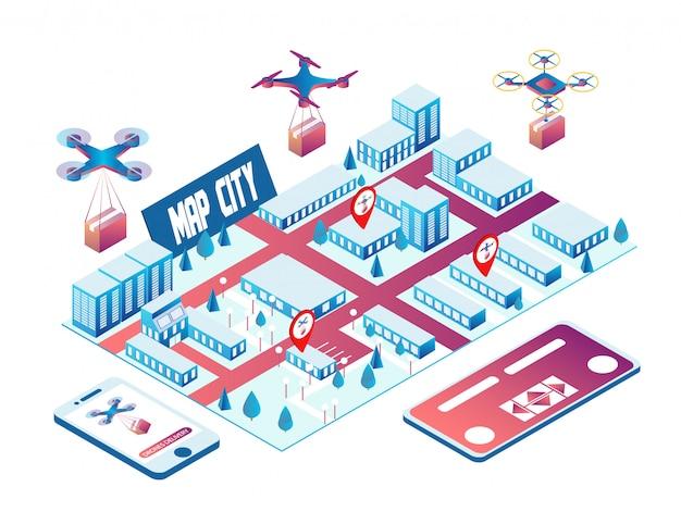 I droni consegnano il carico in città