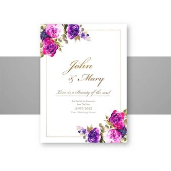 I fiori decorativi di nozze salvano la data sul modello della carta del menu