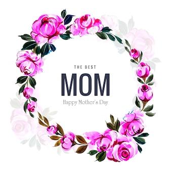 I fiori decorativi incorniciano la bella carta del giorno di madri