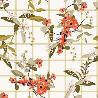 I fiori del giardino di fioritura sulla finestra controllano il modello senza cuciture