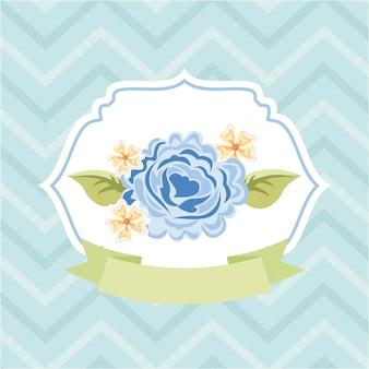 I fiori progettano sopra l'illustrazione blu di vettore del fondo