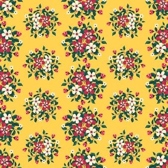 I fiori rossi dell'estate avvolgono lo stile dell'edera con il ramo e le foglie, modello senza cuciture
