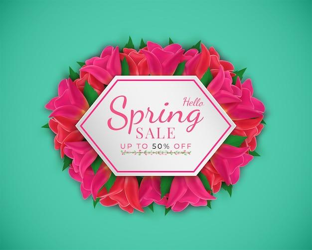 I fiori sbocciano nel banner stagionale di primavera