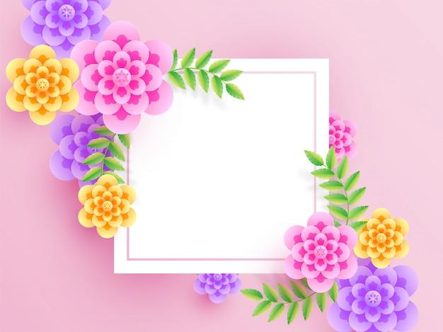 I fiori tagliati della carta variopinta hanno decorato il fondo rosa