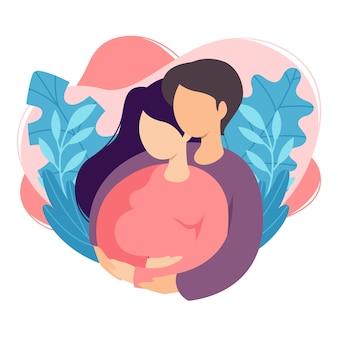 I futuri genitori uomo e donna aspettano un bambino. coppia di marito e moglie si preparano a diventare genitori. uomo che abbraccia la donna incinta con la pancia. maternità, paternità.
