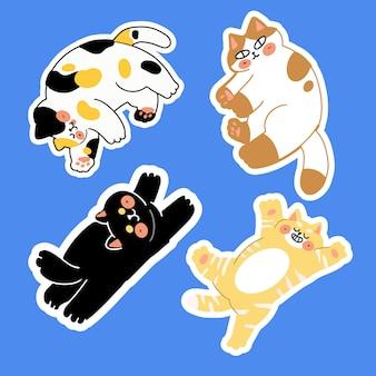 I gatti adorabili posano uno scarabocchio di vettore di gesto. ideale per adesivi, decorazioni, stampe