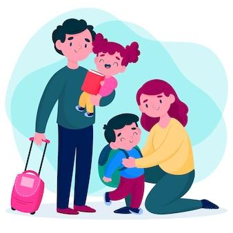I genitori abbracciano i loro bambini prima di andare a scuola