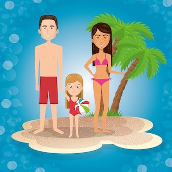 I genitori con la figlia sulla spiaggia