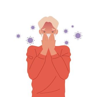 I germi virali si diffondono nell'aria. uomo che indossa maschere e tosse.
