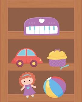 I giocattoli del piano della palla della bambola dell'automobile obiettano per i bambini piccoli giocare il fumetto sullo scaffale di legno