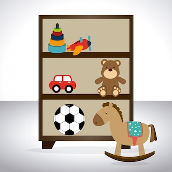 I giocattoli progettano sopra l'illustrazione bianca di vettore del fondo