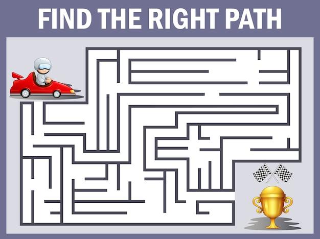 I giochi di auto da corsa labirinto trovano la loro strada verso il trofeo