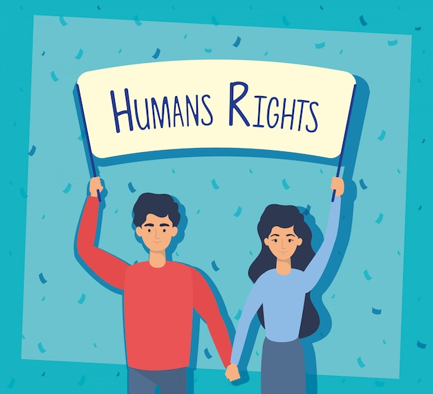 I giovani amanti si accoppiano con progettazione dell'illustrazione di vettore dell'etichetta dei diritti umani