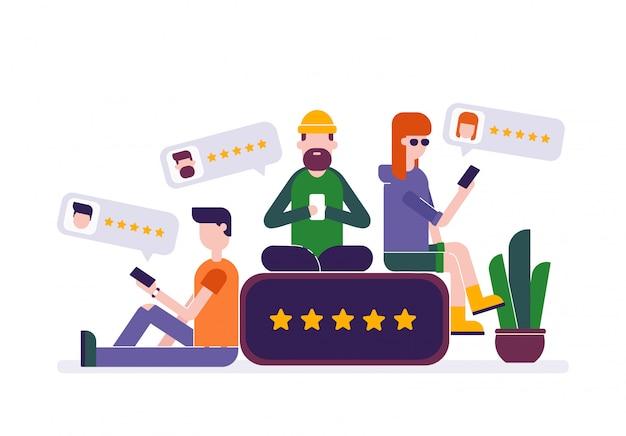 I giovani che lasciano un feedback di valutazione a cinque stelle in smartphone