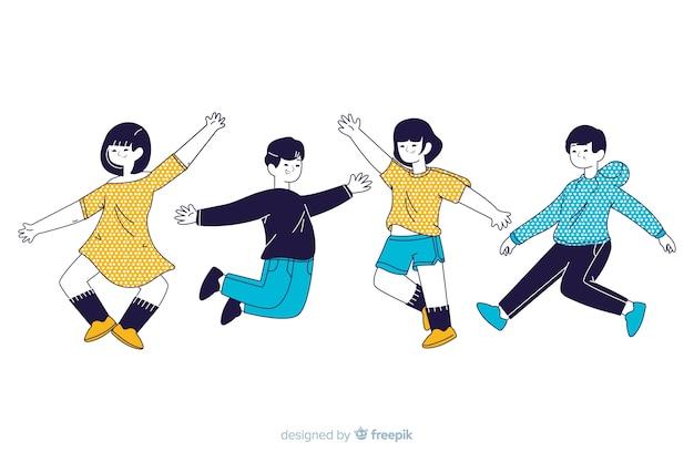 I giovani che saltano nello stile di disegno coreano