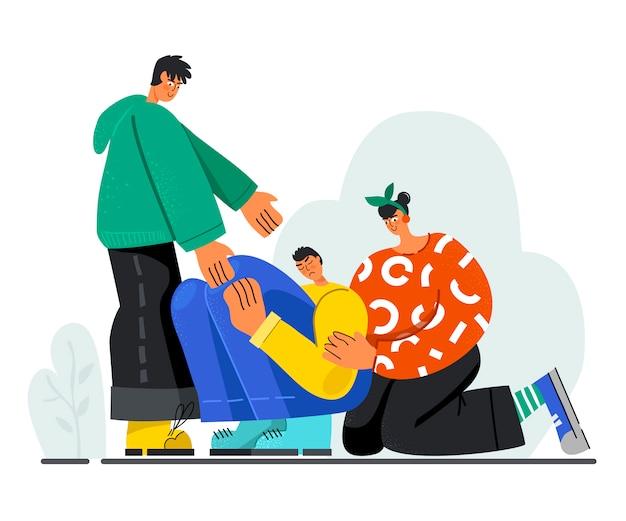 I giovani consolano un ragazzo triste, aiutando la mano. il concetto di empatia.