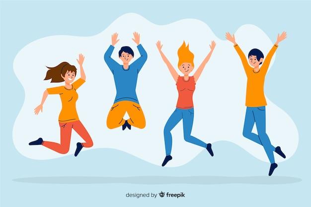 I giovani saltano e si divertono