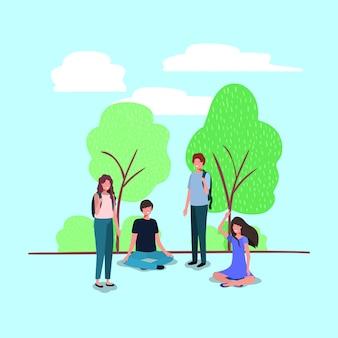 I giovani sui personaggi del parco