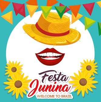 I girasoli e le insegne della bocca del cappello con il festival junina cedono firmando l'alzavola ed il illustr di vettore blu del fondo