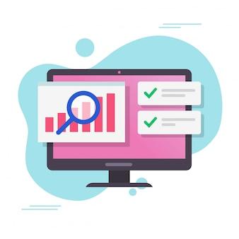 I grafici di crescita dei dati di vendita di analisi riportano sul computer o sul pc con la verifica del mercato azionario con il fumetto piano di vettore di notifiche di successo