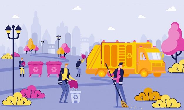I lavoratori della raccolta dei rifiuti puliscono il fumetto del parco piano