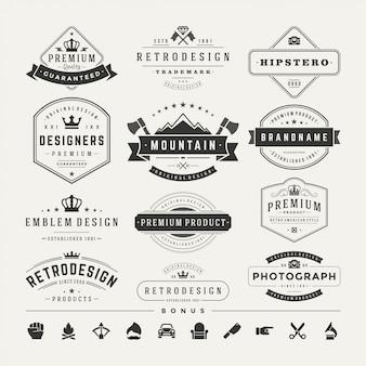 I logotipi d'annata retro hanno messo gli elementi di progettazione di vettore
