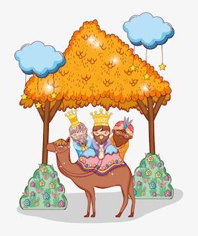 I maghi cavalcano il cammello con stelle di mangiatoia e nuvole
