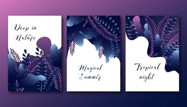 I manifesti di estate hanno messo con le foglie astratte della foresta di pendenza alla moda