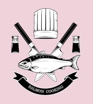I marchi di cottura del salmone vector a mano il disegno