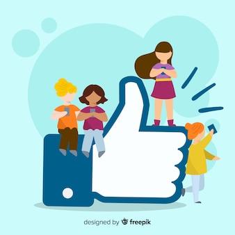 I media sociali disegnati a mano dei giovani gradiscono il fondo di concetto