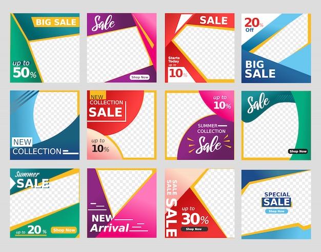 I media sociali e il fondo della bandiera della disposizione del sito web in vendita variopinta di sconto progettano adatto a modo