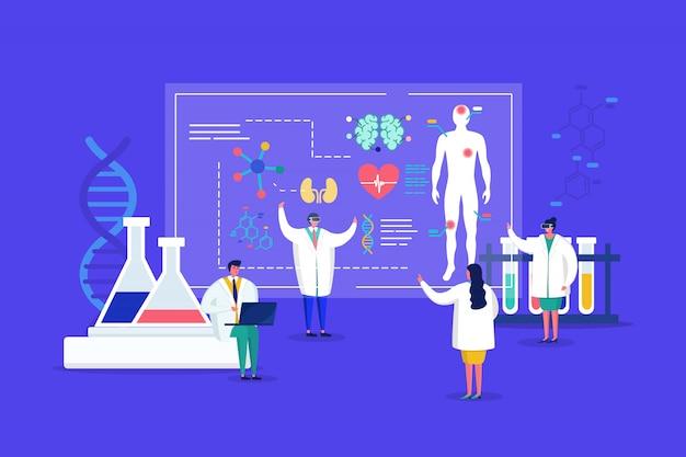 I medici di piccole dimensioni del laboratorio innovativo in occhiali 3d conducono ricerche, analizzano gli organi umani sulla scoperta medica sqreen per l'illustrazione di assistenza sanitaria.