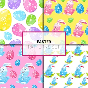 I modelli di pasqua hanno messo senza cuciture con i conigli del fumetto e l'ornamento variopinto delle uova