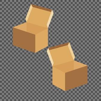 I modelli quadrati della scatola hanno messo isolato su fondo trasparente.