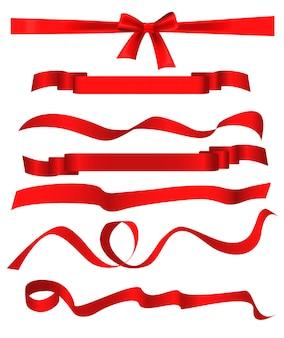 I modelli rossi del nastro hanno messo isolato su fondo bianco.