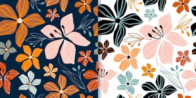 I modelli senza cuciture floreali astratti hanno messo con le forme ritagliate decorative, progettazione d'avanguardia