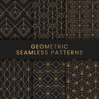 I modelli senza cuciture geometrici dorati hanno messo su fondo nero