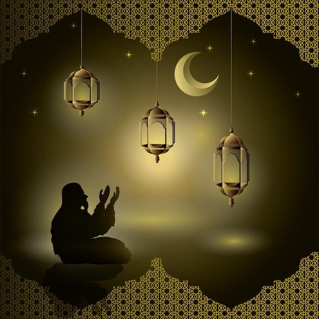 I musulmani pregano di notte con scintillii e lanterne, la luna, le stelle per il biglietto di auguri