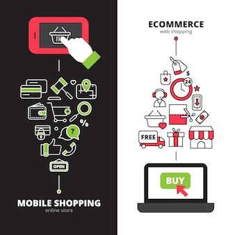 I negozi online che fissano il servizio di internet mobile di pagamento 2 insegne verticali hanno messo la linea astratta illustrazione isolata vettore