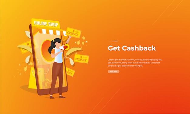 I negozi online offrono promozioni di rimborso per concetti di shopping online