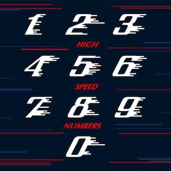 I numeri di speed sport hanno impostato il modello di progettazione di logo. carattere tipografico sportivo