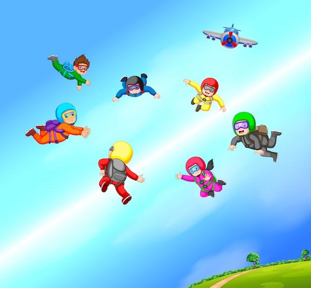 I paracadutisti stanno facendo formazione