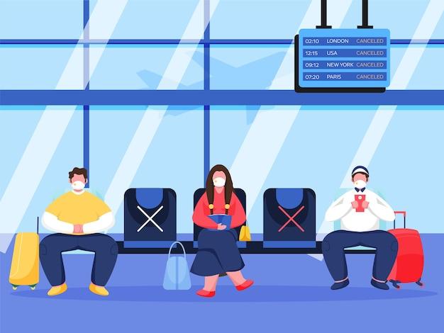 I passeggeri o le persone che indossano una mascherina medica mantengono la distanza sociale sul sedile delle partenze dell'aeroporto per prevenire il coronavirus.
