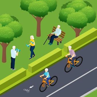 I pensionati durante l'attività all'aperto andare in bicicletta in forma fisica e l'uomo anziano solo seduto sulla panchina isometrica