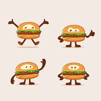I personaggi dei cartoni animati dell'hamburger che saltano la condizione d'ondeggiamento e le manifestazioni sfogliano su