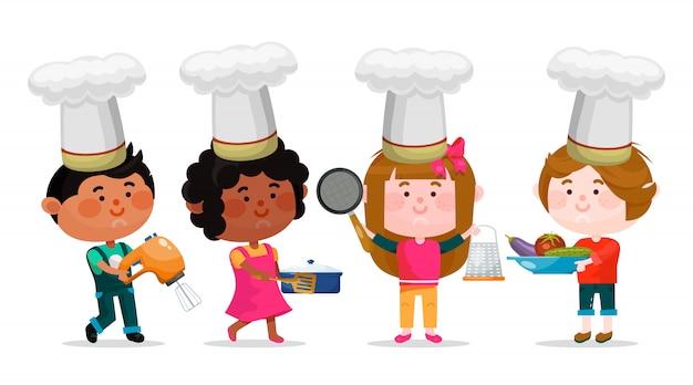 I personaggi dei cartoni animati di ragazzi e ragazze con utensili da cucina sono in piedi e sorridenti