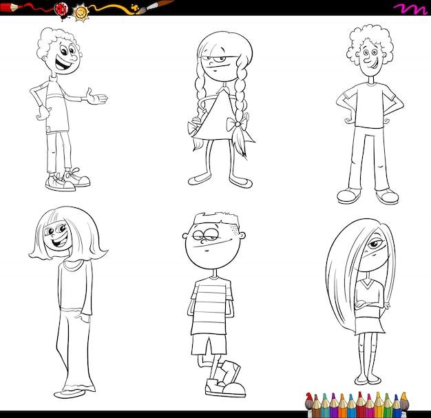 I personaggi di bambini o adolescenti impostano il libro a colori