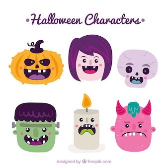 I personaggi di halloween piacevoli impostati