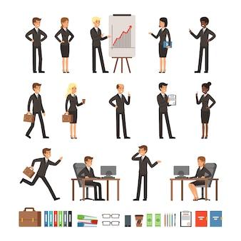 I personaggi disegnano uomini e donne d'affari, dirigenti d'ufficio, squadre professionali. m