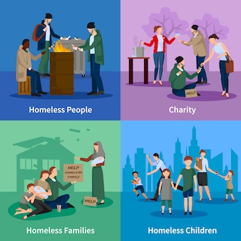 I personaggi senza fissa dimora con le persone si scaldano attorno al fuoco, mendicando, ricevendo donazioni e bambini e famiglie senzatetto